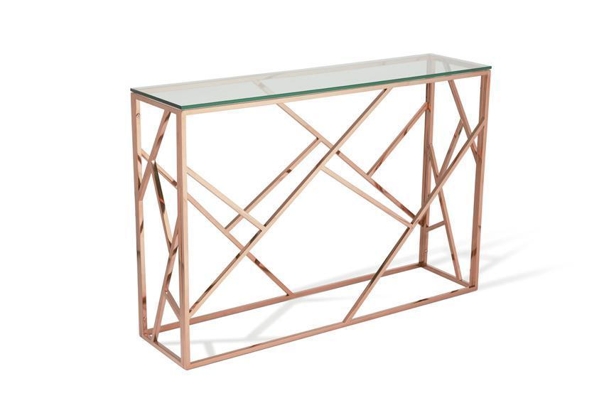 gold console table. Serene Furnishings Console Table Phoenix Glass Top Rose Gold By