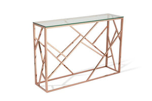 Serene Furnishings Console Table Phoenix Glass Top Console Table Rose Gold By Serene Furnishings