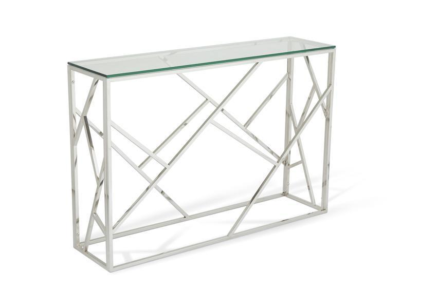 Shop Now Phoenix Glass Top Console Table Stainless Steel By Serene