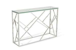Serene Furnishings Console Table Phoenix Glass Top Console Table Stainless Steel By Serene Furnishings