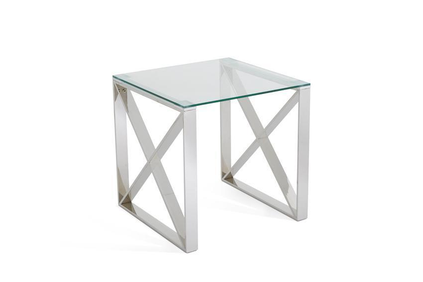 Serene Furnishings Occasional Side Table Astra Glass Top Lamp Stainless Steel By