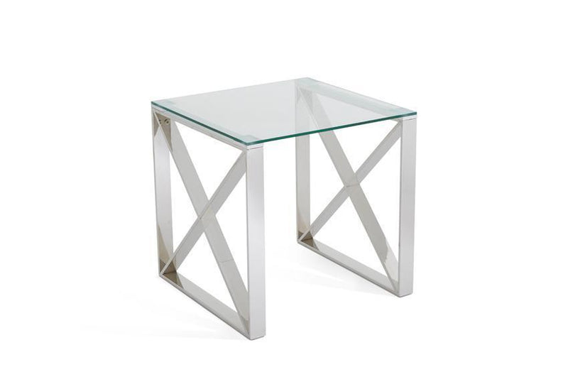 Serene Furnishings Occasional & Side Table Astra Glass Top Lamp Table Stainless Steel By Serene Furnishings