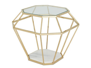 Serene Furnishings Occasional & Side Table Iris Glass Top Lamp Table Gold By Serene Furnishings
