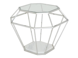Serene Furnishings Occasional & Side Table Iris Glass Top Lamp Table Stainless Steel By Serene Furnishings