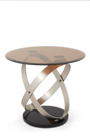 Serene Furnishings Occasional & Side Table Miranda Glass Top Lamp Table Satin By Serene Furnishings