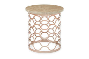 Serene Furnishings Occasional & Side Table Ophelia Glass Top Lamp Table Rose Gold By Serene Furnishings
