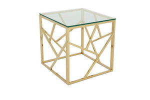 Serene Furnishings Occasional & Side Table Phoenix Glass Top Lamp Table Gold By Serene Furnishings