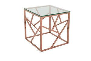 Serene Furnishings Occasional & Side Table Phoenix Glass Top Lamp Table Rose Gold By Serene Furnishings
