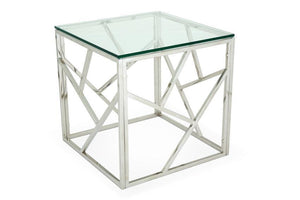 Serene Furnishings Occasional & Side Table Phoenix Glass Top Lamp Table Stainless Steel By Serene Furnishings