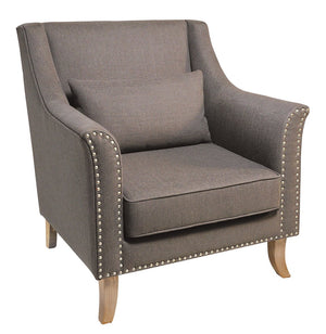 Seville Furniture Armchair Adele Powder Coated 70s Retro Armchair With Grey Cushion
