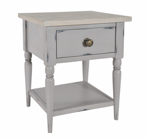 Seville Furniture Bedside Table Newlyn Grey Distressed Painted Lamp Side Table With Drawer