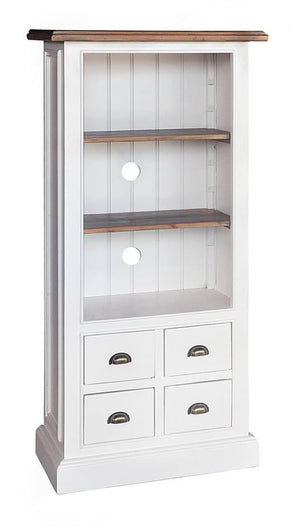 Seville Furniture Bookcase Polperro White Hand Distressed Painted Bookcase