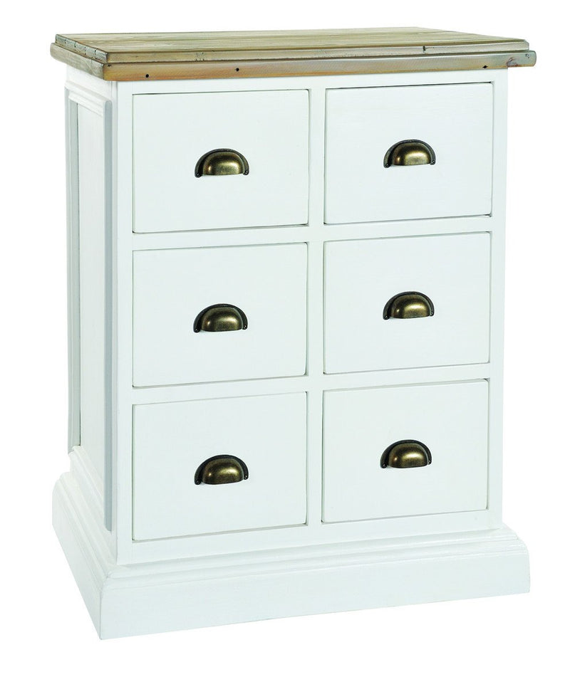 Seville Furniture Chest Of Drawers Polperro White Distressed Brush 6 Chest of Drawer