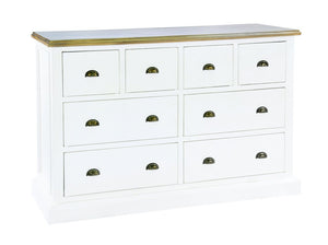 Seville Furniture Chest Of Drawers Polperro White Distressed Brush Wide 4 Over 4 Chest of Drawer