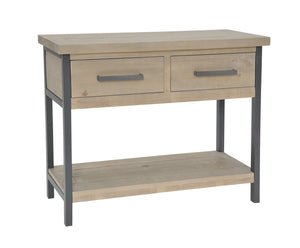 Seville Furniture Console Table Charlestown Metal and Wood Industrial Console Hall Table