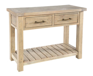 Seville Furniture Console Table Fowey Reclaimed Pine Driftwood Console Table 2 Drawers & Undershelf