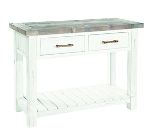 Seville Furniture Console Table Padstow White Distressed 2 Drawer 1 Shelf Console Table