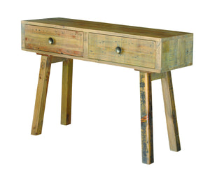 Seville Furniture Console Table St Ives Reclaimed Solid Pine 2 Drawer Dressing/Console Table
