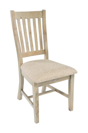 Seville Furniture Dining Chair Pair of Fowey Reclaimed Pine Driftwood Slatted Back Dining Chairs