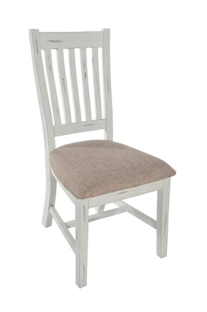 Seville Furniture Dining Chair Pair of Padstow White Distressed Slatted Back Dining Chairs