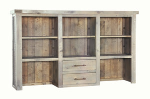 Seville Furniture Hutch Fowey Reclaimed Pine Driftwood 2 Drawer Large Top Unit/Hutch with Adjustable Shelves