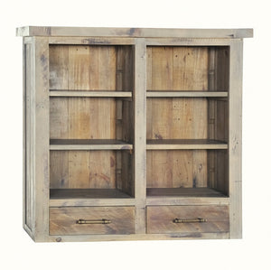Seville Furniture Hutch Fowey Reclaimed Pine Driftwood 2 Drawer Small Top Unit/Hutch With Adjustable Shelves