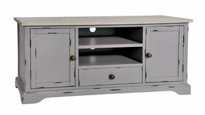Seville Furniture Media Unit Newlyn Grey Distressed Painted TV Cabinet