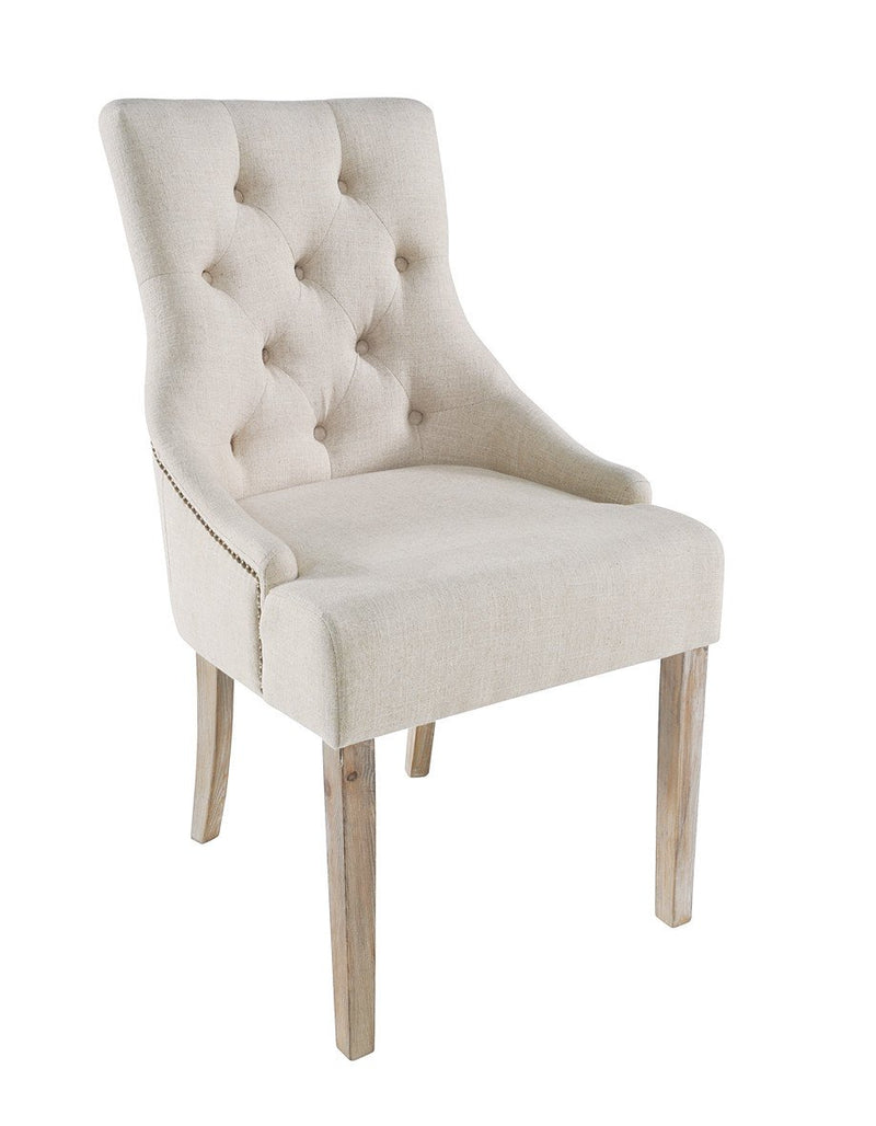 Seville Furniture Occasional Chair Pair of Stella Button Back Upholstered Occasional Dining Chairs With Cream Fabric