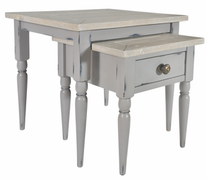 Seville Furniture Occasional & Side Table Newlyn Grey Distressed Painted Nest of Tables x 2