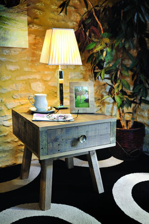 Seville Furniture Occasional & Side Table St Ives Reclaimed Solid Pine 1 Drawer Occasional Side Table
