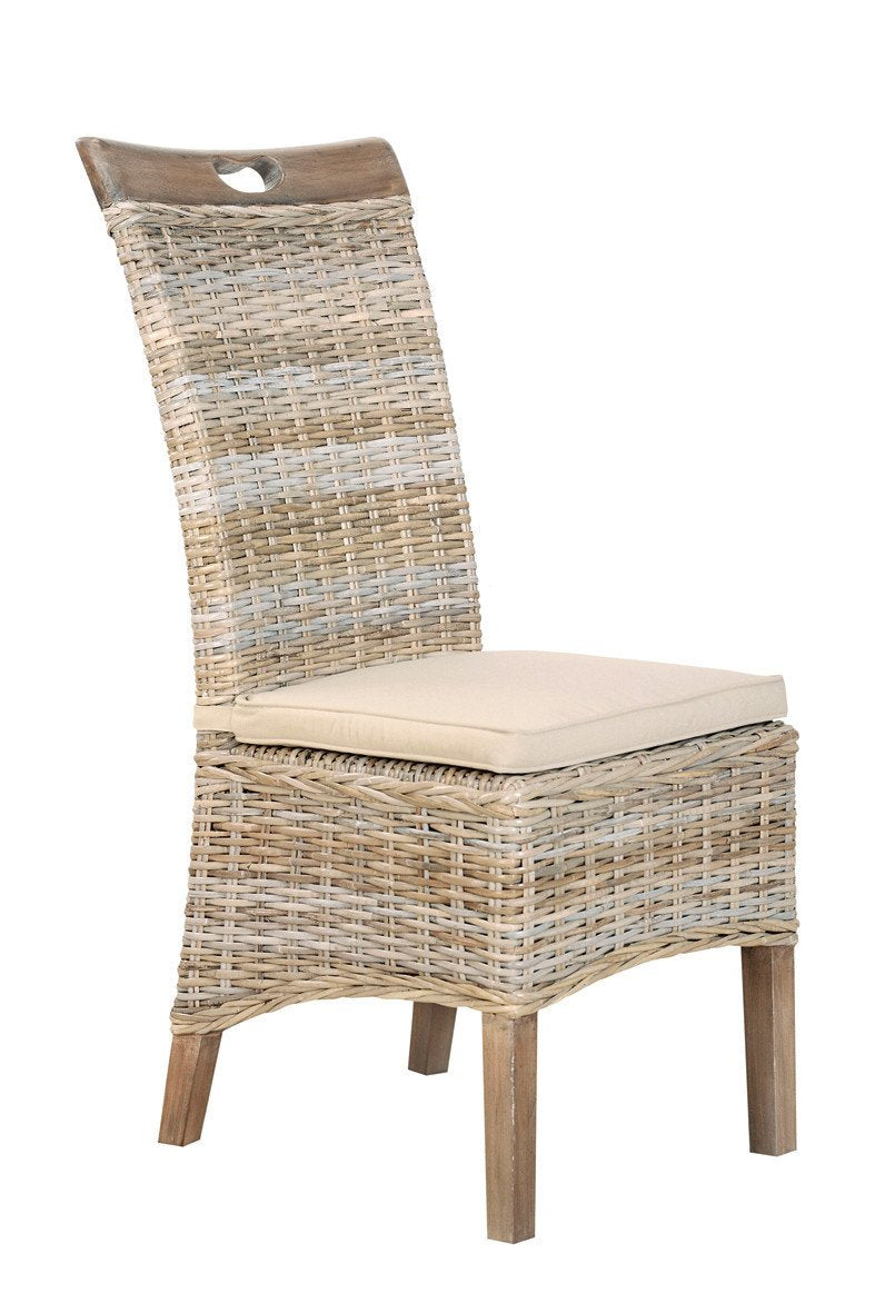 Seville Furniture Rattan Dining Chair Roseland Rattan Vivetto Chairs (sold in pairs) with Split Kooboo Grey Wash Stone Seat Pad