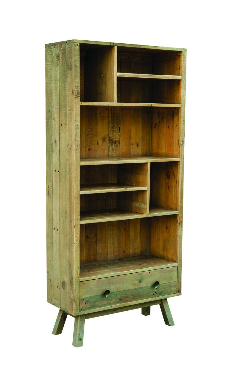 Seville Furniture Shelving St Ives Reclaimed Pine Tall Display Unit with Removable Shelves and Bottom Drawer