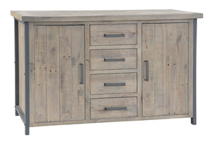 Seville Furniture Sideboard Large Charlestown Metal and Wood Industrial Sideboard Cabinet
