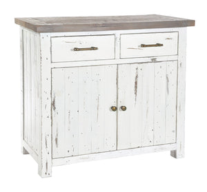 Seville Furniture Sideboard Padstow White Distressed Small Sideboard