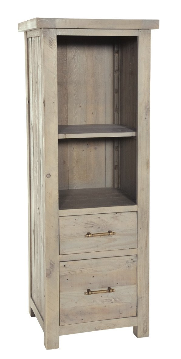 Seville Furniture Storage Cabinet Fowey Reclaimed Pine Driftwood 2 Drawer Bookcase
