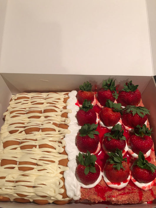 Half banana pudding half strawberry crunch cake