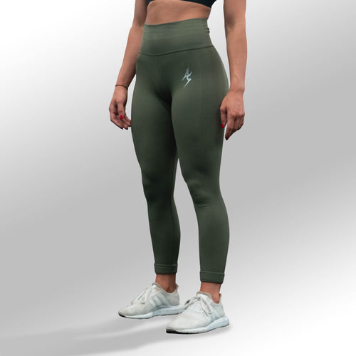 SECOND SKIN SEAMLESS LEGGINGS - OLIVE GREEN