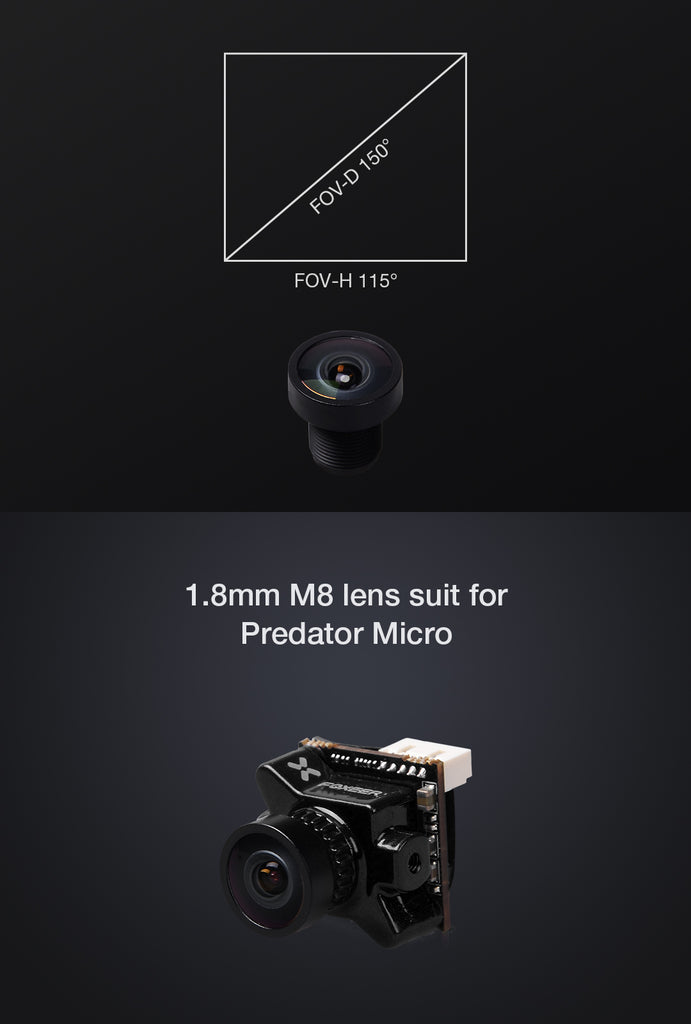 1.8mm M8 Lens for Foxeer Predator Micro Camera