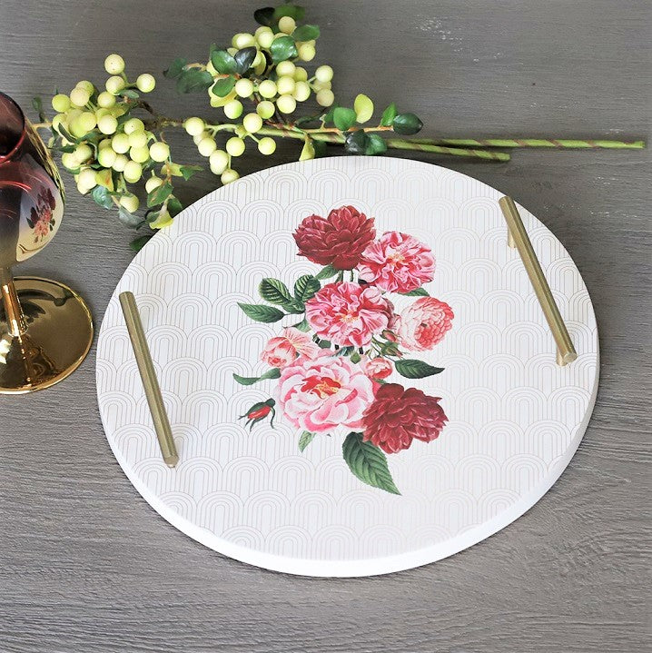 Patterned Round Tray - Floral