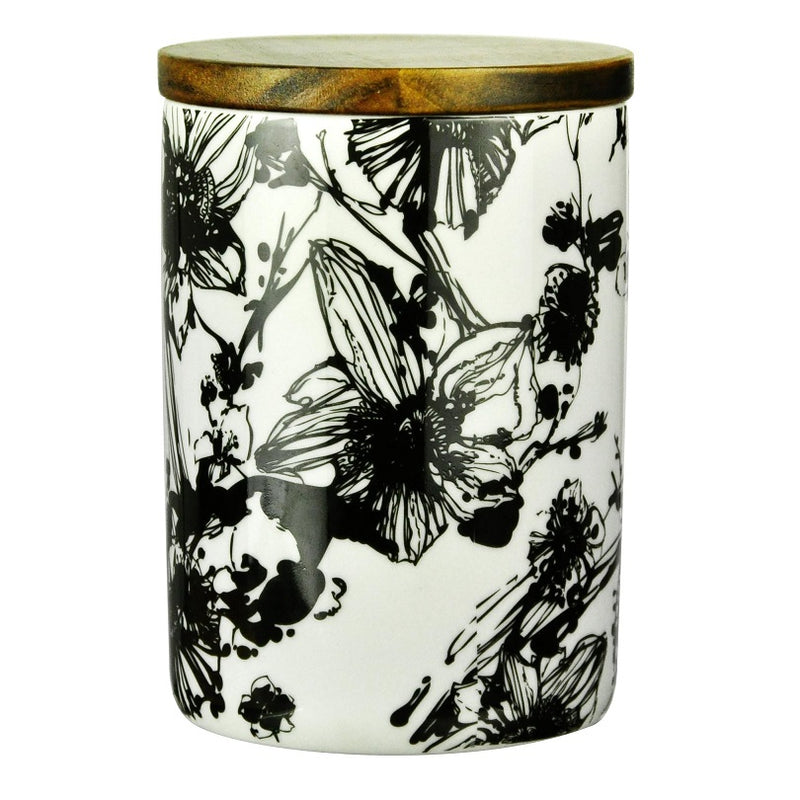 Patterned Storage Jar with Lid - Flowers