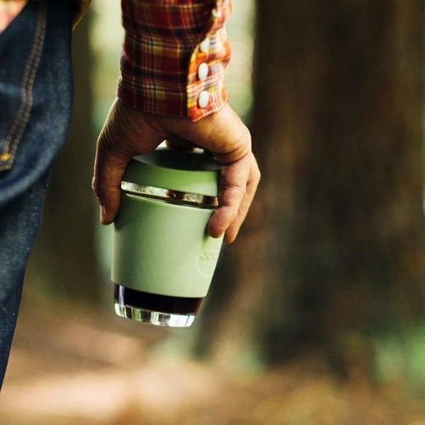Reusable Glass Cup Medium - Army Green