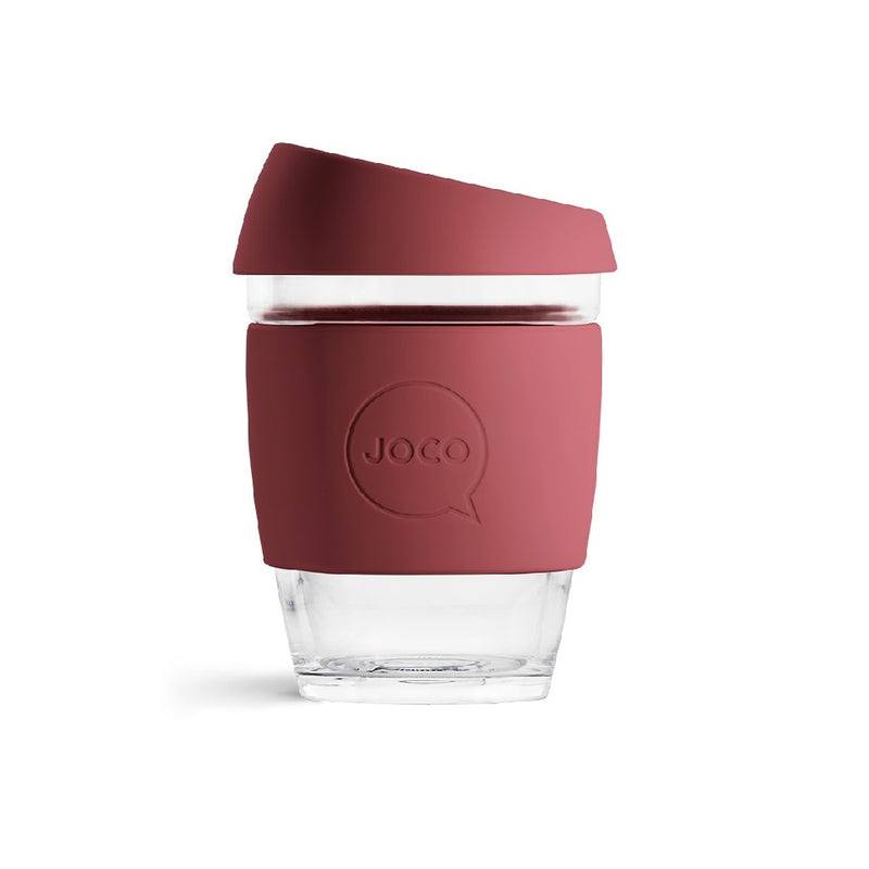 Reusable Glass Cup Medium - Ruby Wine