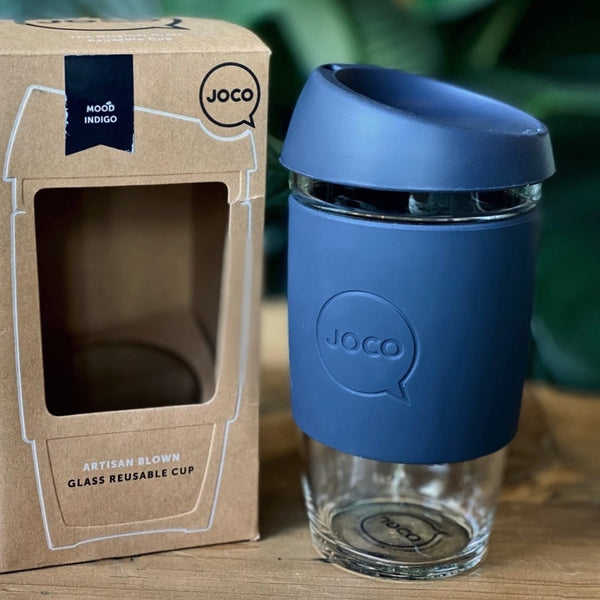 Reusable Glass Cup Large - Mood Indigo