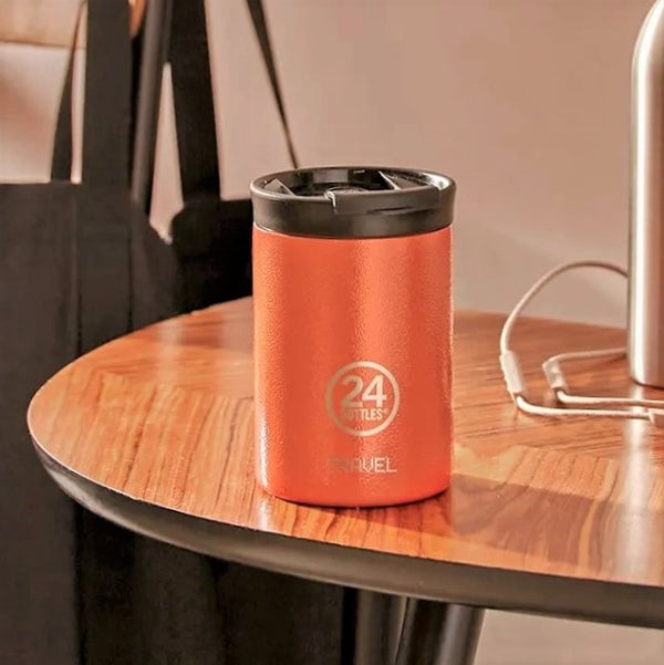 Insulated Stainless Steel Tumbler - Sunset Orange