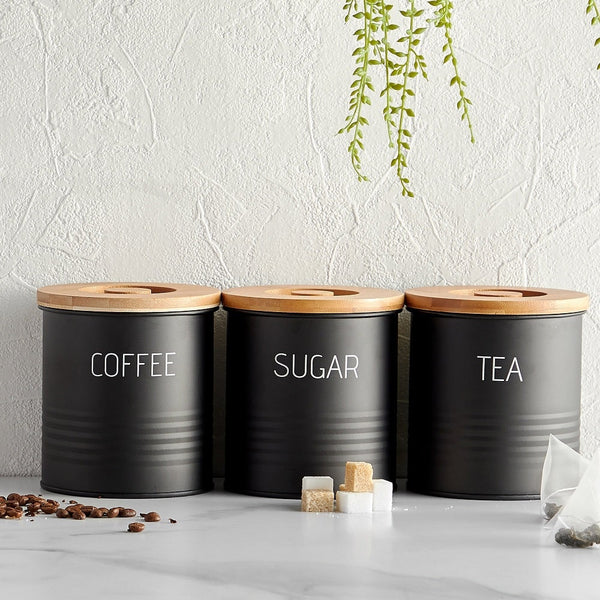 Tea Coffee Sugar Canisters With Bamboo Lids