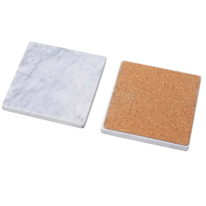 Square Marble Coasters with Cork Holder