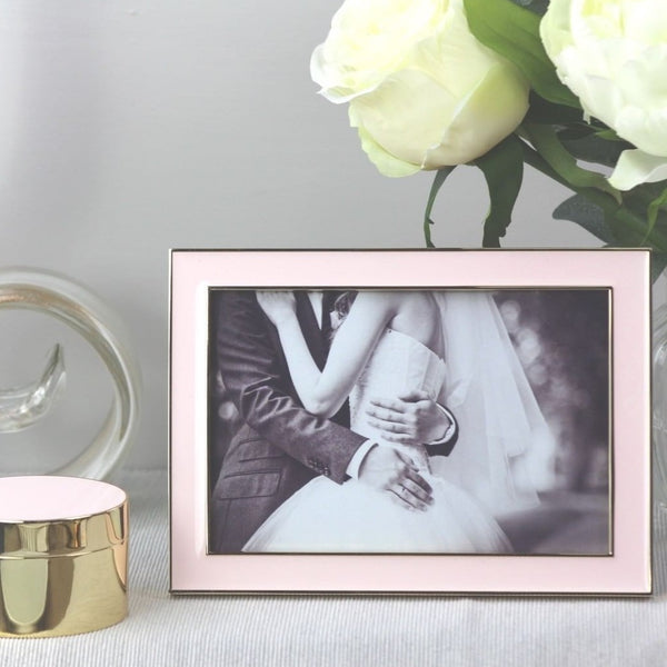 Pale Pink Enamel & Gold Frame - Medium