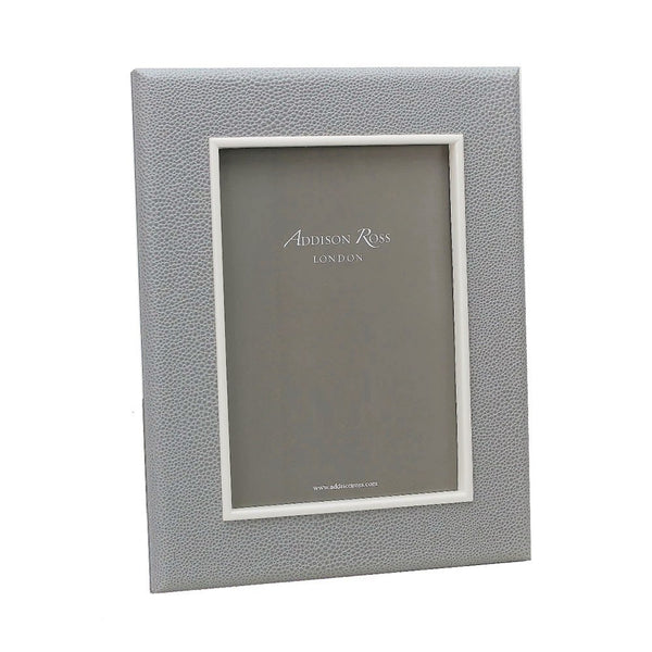 Grey Faux Shagreen & Silver Frame - Medium
