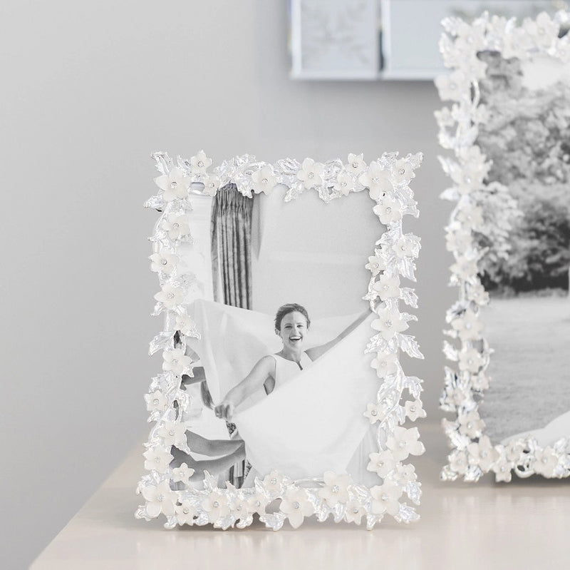 Silver Leaf and Ivory Flower Photo Frame - 4x6