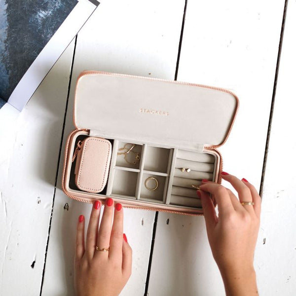 Travel Jewellery Pouch Duo - Blush Pink